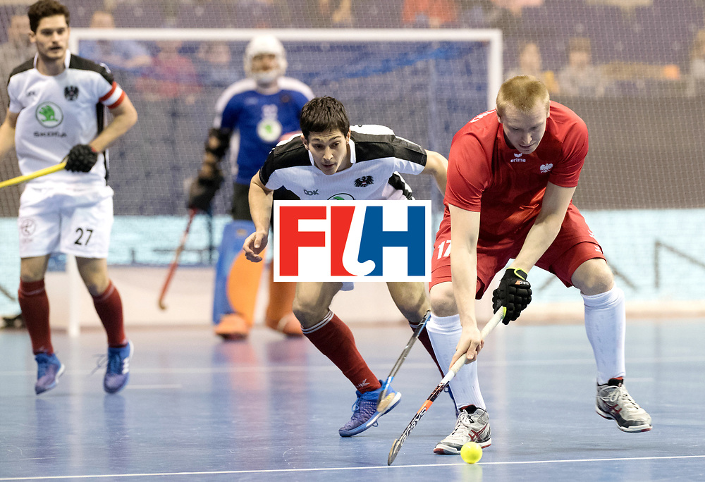 BERLIN - Indoor Hockey World Cup<br /> Quarterfinal 2: Austria - Poland<br /> foto: Patrick Schmidt and MAKOWSKI Krystian.<br /> WORLDSPORTPICS COPYRIGHT FRANK UIJLENBROEK