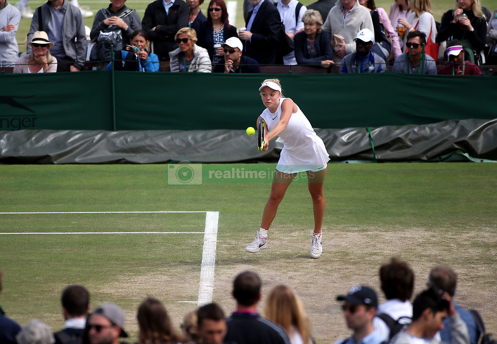 Katie Swan in action in the Girls Singles on day nine of the Wimbledon Championships at The All England Lawn Tennis and Croquet Club, Wimbledon.