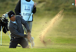 The Alfred Dunhill Golf Championship 2009 at The Old Course, St Andrews, Kingsbarns and Carnoustie.. . American World Champion surfer Kelly Slater gets out the bunker on 16   during the Gale-Force Delayed Third  Round of the Alfred Dunhill Golf Championship...Picture by Mark Davison/ Universal News & Sport