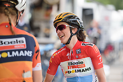 Christine Majerus jokes with her teammates at Boels Rental Ladies Tour Stage 3 a 16.9 km individual time trial in Roosendaal, Netherlands on August 31, 2017. (Photo by Sean Robinson/Velofocus)