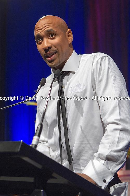 Breakers' CJ Bruton speaks at the Skycity Breakers Awards, 2013-14, Skycity Convention Centre, Auckland, New Zealand, Friday, March 28, 2014. Photo: David Rowland/Photosport