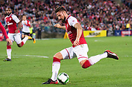 July 15 2017: Arsenal player Olivier Giroud (12) enters the ball at the International soccer match between English Premier League giants Arsenal and A-League team Western Sydney Wanderers at ANZ Stadium in Sydney.
