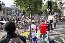 The peloton rides by Trafalgar Square in the last third of the Prudential RideLondon Classique, a 66 km road race in London on July 30, 2016 in the United Kingdom.