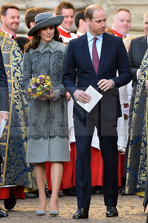 © Licensed to London News Pictures. 14/03/2016. Kate, Duchess of Cambridge and William, Duke of Cambridge attend the Commonwealth Day Observance Service At Westminister Abbey. The annual multi-faith service is a celebration of the Commonwealth London, UK.  Photo credit: Ray Tang/LNP