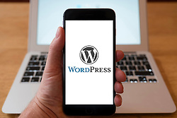 Using iPhone smartphone to display logo of Wordpress blog publishing service