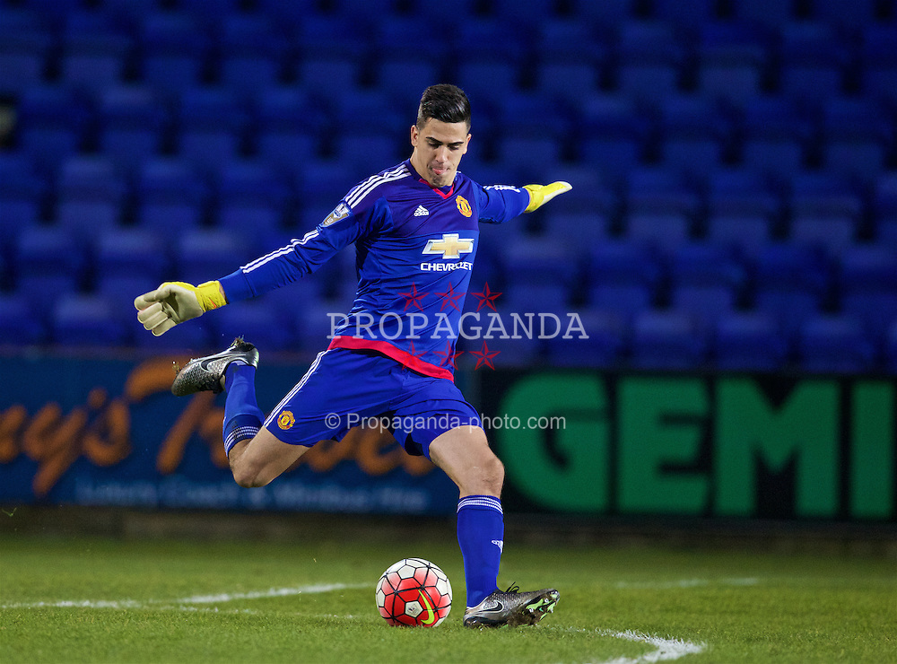 BIRKENHEAD, ENGLAND - Friday, March 11, 2016: Manchester United's goalkeeper Joel Pereira in action against Liverpool during the Under-21 FA Premier League match at Prenton Park. (Pic by David Rawcliffe/Propaganda)