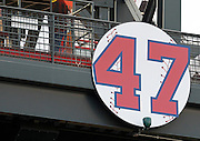 ATLANTA - AUGUST 7:  Picture of the new banner in honor of Tom Glavine's #47 (his number was retired last night) before the game between the Atlanta Braves and the San Francisco Giants at Turner Field on August 7, 2010 in Atlanta, Georgia.  (Photo by Mike Zarrilli/Getty Images)