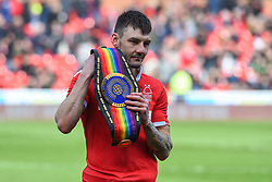 March 9, 2019 - Nottingham, England, United Kingdom - Commonwealth Featherweight Boxing Champion and Forest supporter Leigh Wood with his belt during the Sky Bet Championship match between Nottingham Forest and Hull City at the City Ground, Nottingham on Saturday 9th March 2019. (Credit Image: © Jon Hobley/NurPhoto via ZUMA Press)
