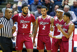 Nov 28, 2018; Morgantown, WV, USA; Rider Broncs players talk to an official after a technical foul was called during the first half against the West Virginia Mountaineers at WVU Coliseum. Mandatory Credit: Ben Queen-USA TODAY Sports
