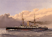 HMS Royal Sovereign, British lst class battleship.  Laid down 26 February 1891. Commissioned 31 May 1892. Sold for scrap 7 October 1913.  Illustration by William Frederick Mitchell. Lithograph 1892.