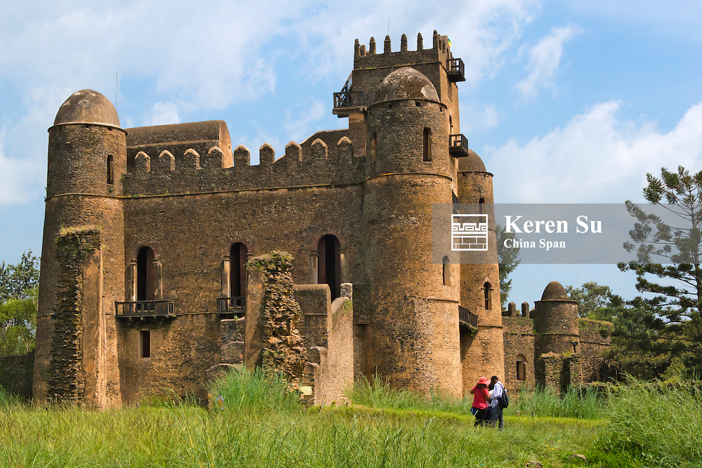 Fasilides' Castle in the fortress-city of Fasil Ghebbi (founded by Emperor Fasilides), UNESCO World Heritage site, Gondar, Ethiopia