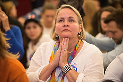 November 9, 2016 - A Hillary Clinton supporter watches in disbelief as results roll in, during an election night watch party, Austin Texas (Credit Image: © Sandy Carson via ZUMA Wire)