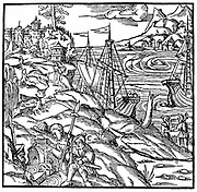 Argonauts finding the Golden Fleece, a fleece placed in a spring by the Colchians to collect alluvial gold dust. From Agricola 'De re metallica', Basle, 1556. Woodcut. Apollonius Rhodius, Greek scholar of 3rd century BC, wrote an epic poem, the 'Argonautica'