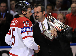 Dany Heatley of Canada accepting a cup for 2nd place at  ice-hockey game Canada vs Russia at finals of IIHF WC 2008 in Quebec City,  on May 18, 2008, in Colisee Pepsi, Quebec City, Quebec, Canada. Win of Russia 5:4. (Photo by Vid Ponikvar / Sportal Images)