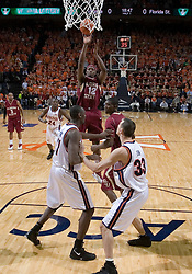 Florida State Seminoles forward Al Thornton (12) shoots for 2 of his 30 points against Virginia.  The Virginia Cavaliers Men's Basketball Team defeated the Florida State Seminoles 73-70 at the John Paul Jones Arena in Charlottesville, VA on February 17, 2007.
