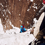 Black Dike Ice Climb on Cannon Mountain Franconia State Park, NH