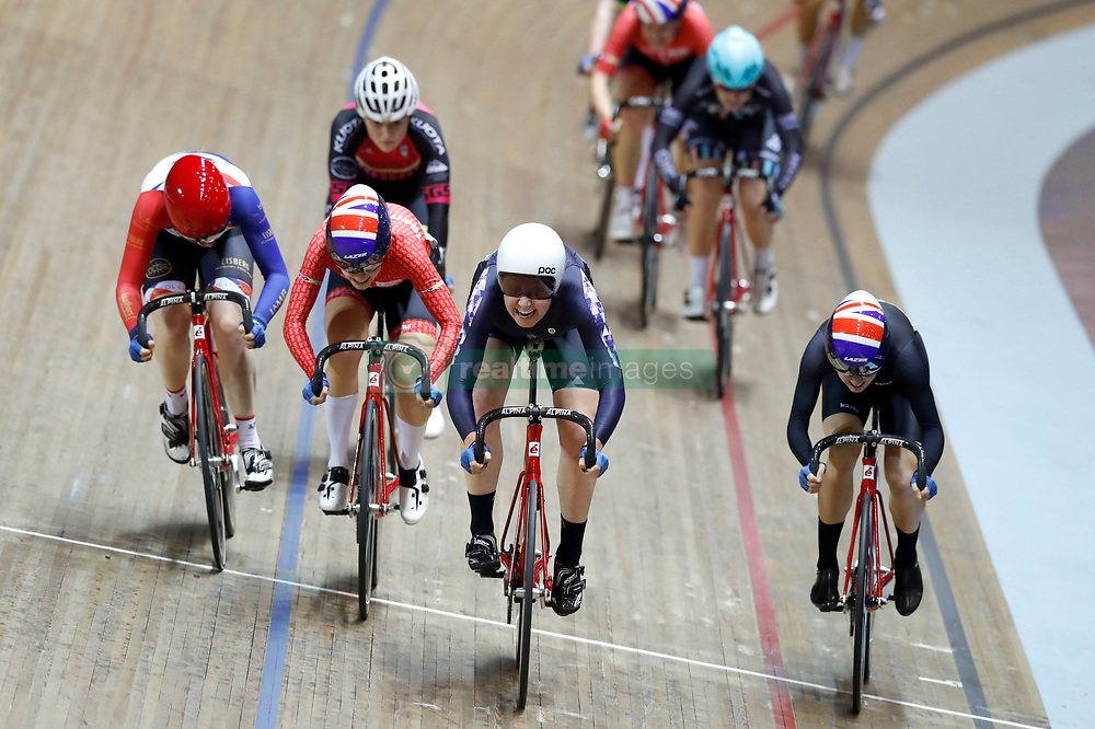 Katie Archibald (centre) wins the Women's Scratch Race Final from Elinor Barker (right), during day two of the HSBC UK National Track Championships at The National Cycling Centre, Manchester.