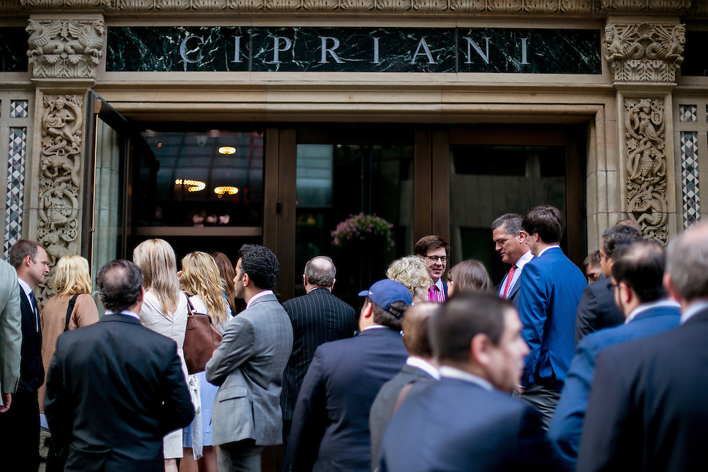NEW YORK, NY - JUNE 22, 2016: Attendees wait outside a fundraiser for Republican presidential candidate Donald J. Trump at Cipriani restaurant on 42nd Street in New York, New York. CREDIT: Sam Hodgson for The New York Times.
