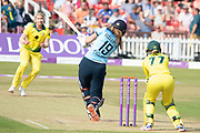 WICKET -  Sophie Ecclestone slices to cover during the Royal London Women's One Day International match between England Women Cricket and Australia at the Fischer County Ground, Grace Road, Leicester, United Kingdom on 4 July 2019.