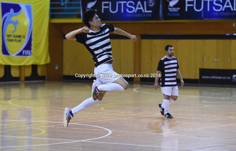 Bo Wang of Northern Futsal celebrates his goal against Futsal South. National Futsal League, Series 3. ASB Stadium, Auckland, New Zealand. Friday 5 December 2014. Photo: Andrew Cornaga/photosport.co.nz