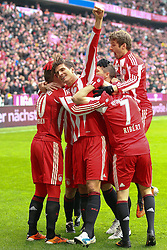12.02.2011, Allianz Arena, Muenchen, GER, 1.FBL, FC Bayern Muenchen vs TSG 1899 Hoffenheim, im Bild  Jubel nach dem 1-0 mit Arjen Robben (Bayern #10) und Mario Gomez (Bayern #33) Thomas Mueller (Bayern #25) Franck Ribery (Bayern #7)  , EXPA Pictures © 2011, PhotoCredit: EXPA/ nph/  Straubmeier       ****** out of GER / SWE / CRO  / BEL ******