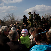 Locals block the advance of a Ukrainian army convoy in Kramatorsk.