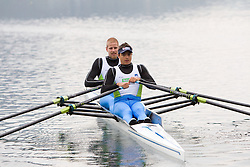 Jan Spik and Gasper Fistravec during media day of Slovenian National rowing team before World Championships in New Zealand 2010 on October 14, 2010 in Mala Zaka, Bled, Slovenia. (Photo by Vid Ponikvar / Sportida)