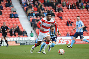 Riccardo Calder No37 For Doncaster Rovers And No 45 JodiJjones Form Coventry  during the Sky Bet League 1 match between Doncaster Rovers and Coventry City at the Keepmoat Stadium, Doncaster, England on 23 April 2016. Photo by Stephen Connor.