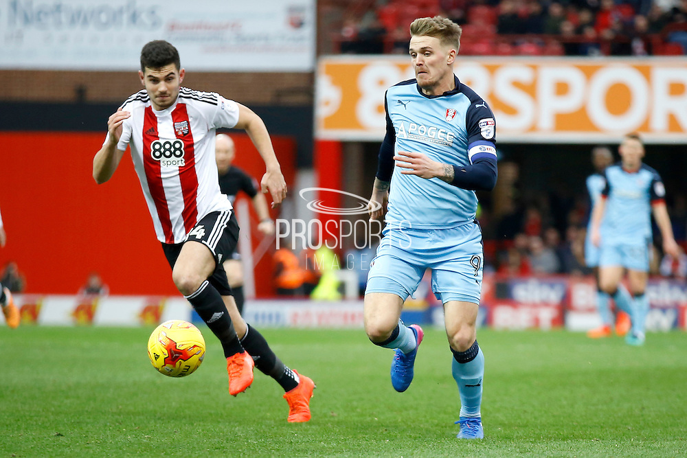 Rotherham United midfielder Danny Ward (9) finds himself through on goal during the EFL Sky Bet Championship match between Brentford and Rotherham United at Griffin Park, London, England on 25 February 2017. Photo by Andy Walter.