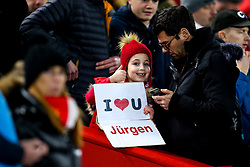 A Liverpool fan holds up a banner declaring their love for Liverpool manager Jurgen Klopp - Mandatory by-line: Robbie Stephenson/JMP - 30/10/2019 - FOOTBALL - Anfield - Liverpool, England - Liverpool v Arsenal - Carabao Cup