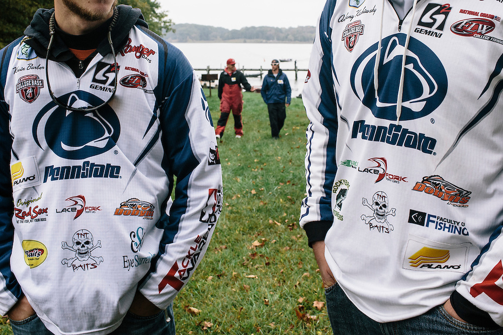 Penn State University's Kevin Barber, left, and Anthony Kashiwsky after the weigh-in during the FLW College Fishing Northern Conference Invitational in Marbury, MD on Oct. 11, 2014. Only the top 15 of 43 teams moved on to Sunday.