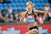 Konstanze Klosterhalfen (GER) on her way to winning the 1 Mile Women's Millicent Fawcett Race in a Meeting Record, German National Record and a Personal Best  time of 4.21.11 during the Birmingham Grand Prix, Sunday, Aug 18, 2019, in Birmingham, United Kingdom. (Steve Flynn/Image of Sport via AP)