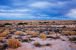 Storm clouds set in at dusk on desert around Lake Eyre, the lowest point in Australia, Lake Eyre, South Australia, Australia