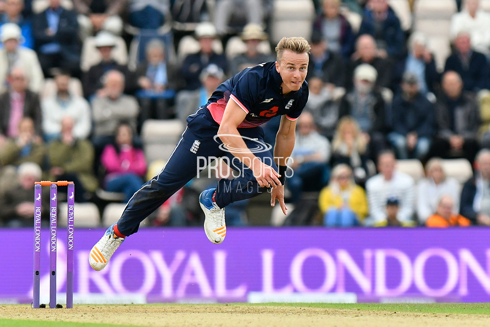 Tom Curran of England bowling during the One Day International match between England and West Indies at the Ageas Bowl, Southampton, United Kingdom on 29 September 2017. Photo by Graham Hunt.
