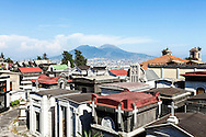 11 July 2016, Naples Italy - A view of cemetery of Naples with Vesuvius in the background.