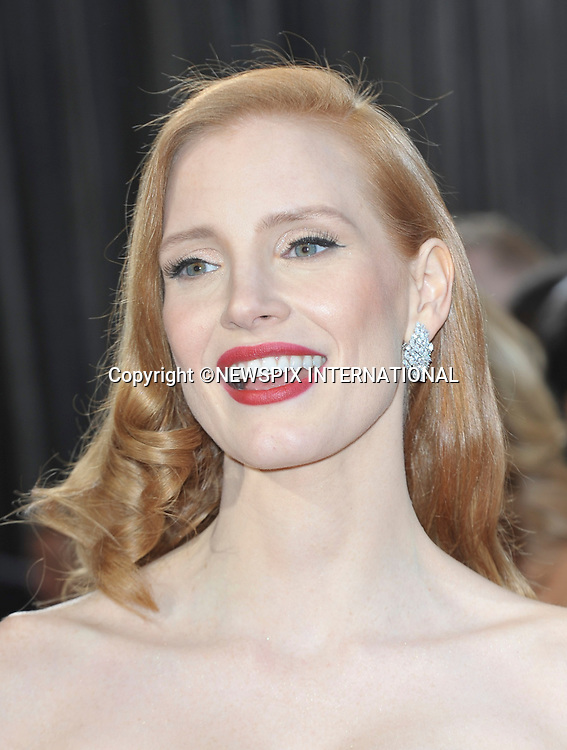 """JESSICA CHASTAIN..Red Carpet arrival for the 85th Annual Academy Awards, Dolby Theatre, Hollywood, Los Angeles_23/02/2013.Mandatory Photo Credit: ©Dias/Newspix International..**ALL FEES PAYABLE TO: """"NEWSPIX INTERNATIONAL""""**..PHOTO CREDIT MANDATORY!!: NEWSPIX INTERNATIONAL(Failure to credit will incur a surcharge of 100% of reproduction fees)..IMMEDIATE CONFIRMATION OF USAGE REQUIRED:.Newspix International, 31 Chinnery Hill, Bishop's Stortford, ENGLAND CM23 3PS.Tel:+441279 324672  ; Fax: +441279656877.Mobile:  0777568 1153.e-mail: info@newspixinternational.co.uk"""