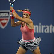 Victoria Azarenka, Belarus, in action against Daniela Hantuchova, Slovakia, during the Women's Singles Quarterfinals match at the US Open. Flushing. New York, USA. 4th September 2013. Photo Tim Clayton