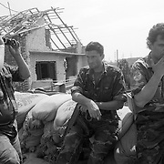 Croatian soldiers man the front line after a cease fire in Ivanovac.