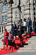 04.10.2016. Copenhagen, Denmark.  <br /> Queen Margrethe, Crown Prince Frederik, Crown Princess Mary leaves the parliament in Christiansborg Palace.<br /> Photo: &copy; Ricardo Ramirez