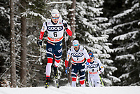 TOBLACH,ITALY,17.DEC.17 - NORDIC SKIING, CROSS COUNTRY SKIING - FIS World Cup, 15km pursuit, men. Image shows Finn Haagen Krogh (NOR), Hans Christer Holund (NOR) and Matti Heikkinen (FIN).<br /> Norway only