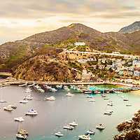 Catalina Island Avalon Bay panorama photo. Catalina Island is a popular travel destination off the coast of Southern California in the United States. Panoramic picture ratio is 1:3.
