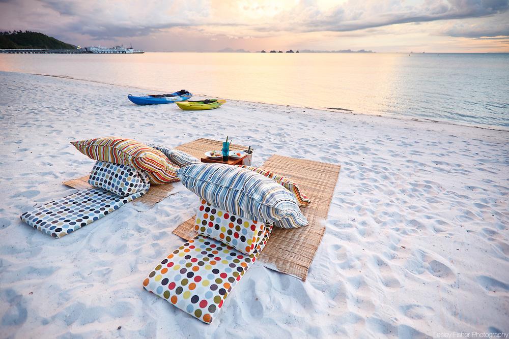 Sunset beach lounging at Baan Kilee, luxury, private villa located on Lipa Noi Beach, Koh Samui, Thailand