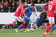AFC Wimbledon striker Andy Barcham (17) and taking on Charlton Athletic forward Karlan Ahearne-Grant (18) during the The FA Cup match between AFC Wimbledon and Charlton Athletic at the Cherry Red Records Stadium, Kingston, England on 3 December 2017. Photo by Matthew Redman.