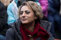 © Licensed to London News Pictures. 05/03/2017. LONDON, UK.  Sadiq Khan's wife, Saadiya Khan listens to her husban, Sadiq Khan's speech with feminist activists at the March4Women, organised by CARE International to mark International Women's Day. The Women's Day March begins at The Scoop near City Hall, before proceeding over Tower Bridge and finishing at the Tower of London. Photo credit: Vickie Flores/LNP