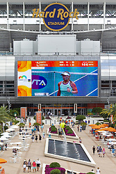 March 25, 2019 - Miami Gardens, FL, USA - Attendees make their way to different matches during the eighth day of the Miami Open tennis tournament on Monday, March 25, 2019 at Hard Rock Stadium in Miami Gardens, Fla. (Credit Image: © Matias J. Ocner/Miami Herald/TNS via ZUMA Wire)
