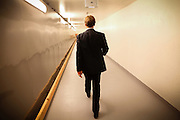 The school head-teacher is walking through underground tunnels linking every building of the luxurious Halden Fengsel (prison) and used only by the staff to rapidly reach other sections, in Halden, near Oslo, Norway.