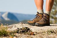 Still life of hiking  boots. Yosemite CA