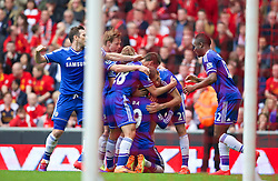 27.04.2014, Anfield, Liverpool, ENG, Premier League, FC Liverpool vs FC Chelsea, 36. Runde, im Bild Chelsea's players celebrate Demba Ba's opening goal against Liverpool // during the English Premier League 36th round match between Liverpool FC and Chelsea FC at Anfield in Liverpool, Great Britain on 2014/04/27. EXPA Pictures &copy; 2014, PhotoCredit: EXPA/ Propagandaphoto/ David Rawcliffe<br /> <br /> *****ATTENTION - OUT of ENG, GBR*****