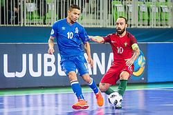 Ricardinho of Portugal and Vassoura of Azerbaijan during futsal match between Portugal and Azerbaijan in Quaterfinals of UEFA Futsal EURO 2018, on February 6, 2018 in Arena Stozice, Ljubljana, Slovenia. Photo by Ziga Zupan / Sportida