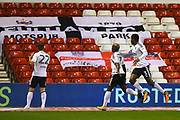 Fulham midfielder Neeskens Kebano (7) scores a goal to make it 1-3 during the EFL Sky Bet Championship match between Nottingham Forest and Fulham at the City Ground, Nottingham, England on 26 September 2017. Photo by Jon Hobley.